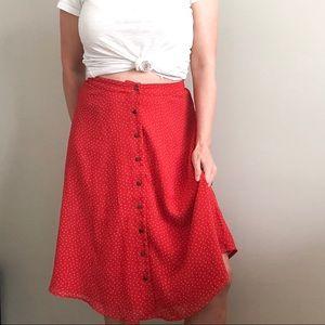 Forever 21 | Red Polka Dot Button Front Midi Skirt